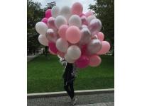 Облако шаров белый, розовый, серебро, фуксия. 20 шт. 30 см.