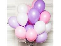 Облако из шаров. Фиолетовые, розовые, белые. 20 шт. 30 см.
