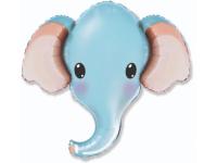 Шар фольгированный милый слоник(голубой) 99 см. С гелием