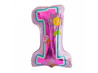 Шар Фольгированный Цифра, Первый день рождения, Девочка, Розовый 86 см. С гелием