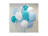 Облако из шаров. Прозрачные, голубые, бирюзовые. 20 шт. 30 см.
