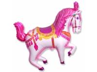 Шар Фольгированный Цирковая лошадь (фуксия) 99 см. С гелием