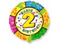 """Шар Фольгированный круг """"Цифра 2"""", Happy Birthday 46 см. С гелием"""