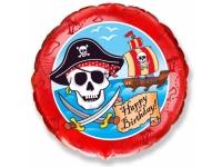 Шар Фольгированный Happy Birthday Пираты 48 см. С гелием