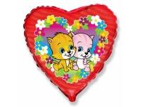 Шар Фольгированный Сердце Котята с цветами 48 см. С гелием