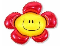 Шар Фольгированный Цветочек (солнечная улыбка) красный 104 см. С гелием