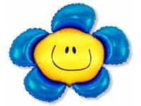 Шар Фольгированный Цветочек (солнечная улыбка) синий 104 см. С гелием
