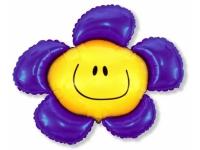 Шар Фольгированный Цветочек (солнечная улыбка) фиолетовый 104 см. С гелием