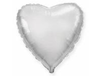 Шар фольгированный сердце серебро. 48 см. С гелием