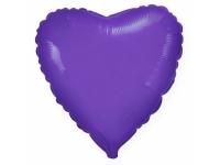 Шар фольгированный сердце фиолетовый. 48 см. С гелием