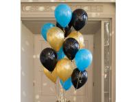 Облако из шаров. Голубые, чёрные, золотые. 20 шт. 30 см.
